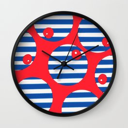 snooker balls on red Wall Clock