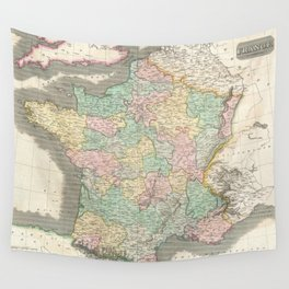 Vintage Map of France (1814) Wall Tapestry