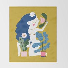 Blue Plant Lady Throw Blanket