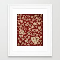 diamond Framed Art Prints featuring diamond by Landon Sheely