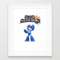 mega man Framed Art Prints featuring Mega Man by Hisham Al Riyami