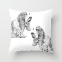 the hound Throw Pillows featuring Basset hound by Doggyshop