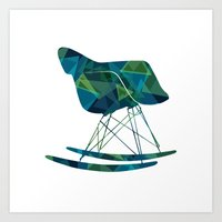 eames Art Prints featuring Eames Rocker by Melissa Nocero
