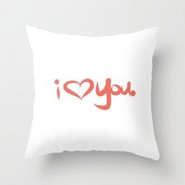 I Love You in Peach Throw Pillow