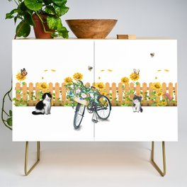Cats Summer Garden Bike Butterflies Credenza