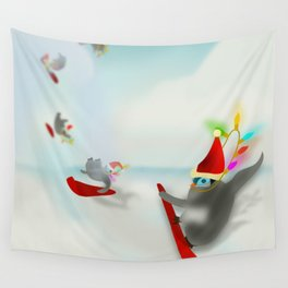 Snow Surfin' Baby Penquines Wall Tapestry