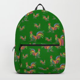 Punky Rooster Pattern on Grass Green Backpack