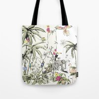 jungle Tote Bags featuring Jungle by Annet Weelink Design