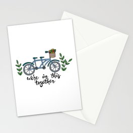 We're In This Together Tandem Bicycle  Stationery Cards