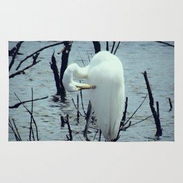 Great Egret in Water A108 Rug