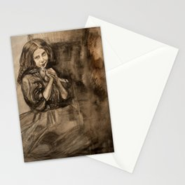 watercolor portrait of girl with dove Stationery Cards