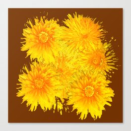 ABSTRACTED COFFEE BROWN   FIRST SPRING YELLOW DANDELIONS Canvas Print