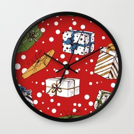 Chritmas gifts pattern Wall Clock