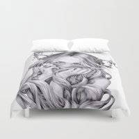 sister Duvet Covers featuring Begonia's Sister by April Alayne