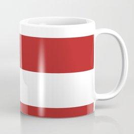 Wide Horizontal Stripes - White and Firebrick Red Coffee Mug