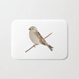 House Sparrow Bird on a Twig Bath Mat
