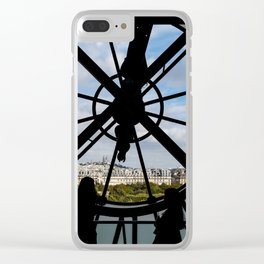 Paris cityscape through the giant glass clock at the Musee d'Orsay Clear iPhone Case