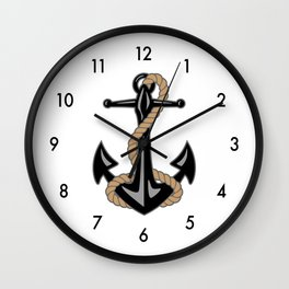Classic Nautical Anchor and Rope Design Wall Clock