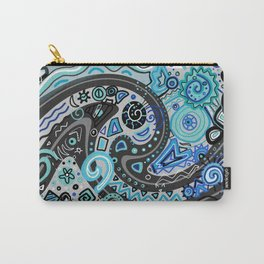 Blue Doodle Black Grey Drawing Line Art Carry-All Pouch