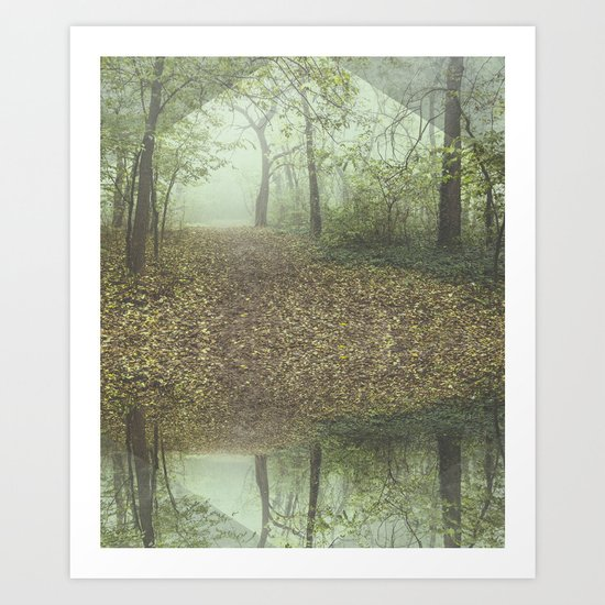 Walk in the Surreal Misty Forest Art Print
