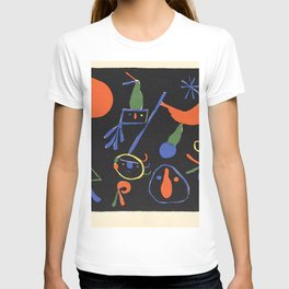 Personnages on Black Ground by Joan Miró T-shirt