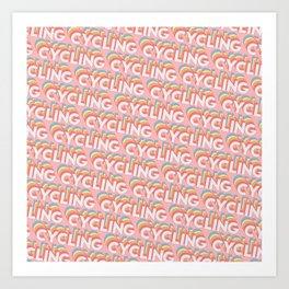 Cycling Trendy Rainbow Text Pattern (Pink) Art Print