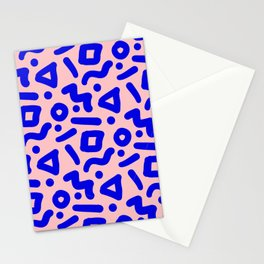 Doodle Pattern - Pink and Electric Blue Stationery Cards