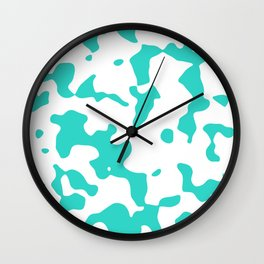 Large Spots - White and Turquoise Wall Clock