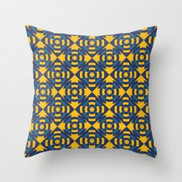 Simple geometric stripe flower yellow and blue Throw Pillow
