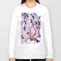 magnolia Long Sleeve T-shirts featuring magnolia by Eva Lesko