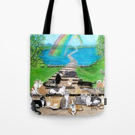 Rainbow Bridge Cats and dogs Tote Bag