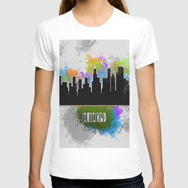 Watercolor art of the Chicago skyline silhouette T-shirt