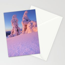 I - Sunset over frozen trees on a mountain, Levi, Finnish Lapland Stationery Cards