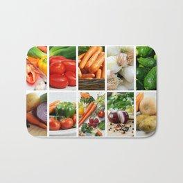Vegetable Bounty Collage - Kitchen or Cafe Decor Bath Mat