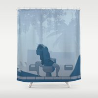 lawyer Shower Curtains featuring Jurassic Park poster - feat. Donald Gennaro by Peter Cassidy