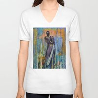 ninja V-neck T-shirts featuring Ninja by Michael Creese