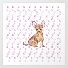 Cute Chihuahua Puppy in Watercolor and Paw Prints Art Print