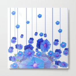 BABY BLUE MORNING GLORIES RAIN ABSTRACT ART Metal Print