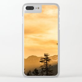 PNW Sunset Orange Mountain Glow - Nature Photography Clear iPhone Case