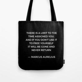 Stoic Inspiration - Marcus Aurelius on Time Tote Bag