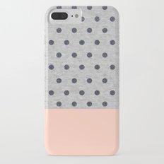 Shiny Polka Dots on Grey Melange iPhone 7 Plus Slim Case