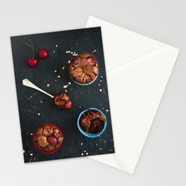 Cherry chocolate cupcakes Stationery Cards