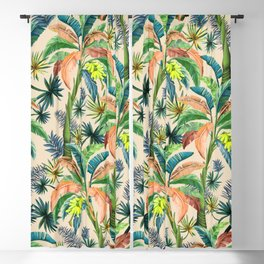 Palm Life, tropical palm leaves, Hollywood Regency, green, orange Blackout Curtain