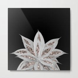 Gray Agave with Rose Gold Glitter #2 #shiny #tropical #decor #art #society6 Metal Print