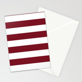 Deep Red Pear and White Wide Horizontal Cabana Tent Stripe Stationery Cards