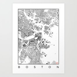 Boston Map Schwarzplan Only Buildings Art Print