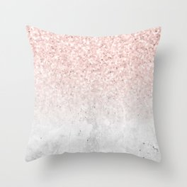 She Sparkles Rose Gold Pink Concrete Luxe Throw Pillow