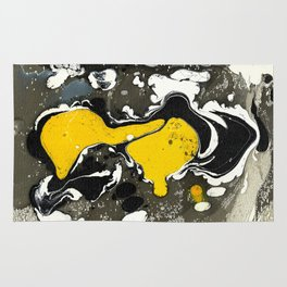 Marble Ink Yellow Black White Rug