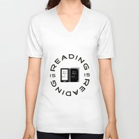 reading V-neck T-shirts featuring Reading is Reading by Marina Bonomi
