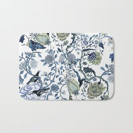 Blue vintage chinoiserie flora Bath Mat